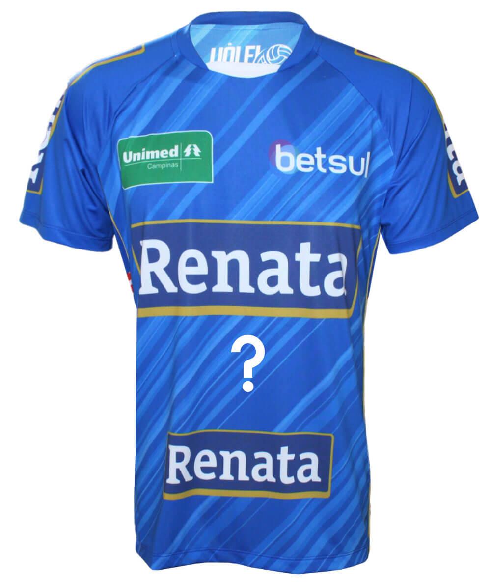 Camisa Vôlei Renata 2020/21 Azul - Personalizada - Masculina