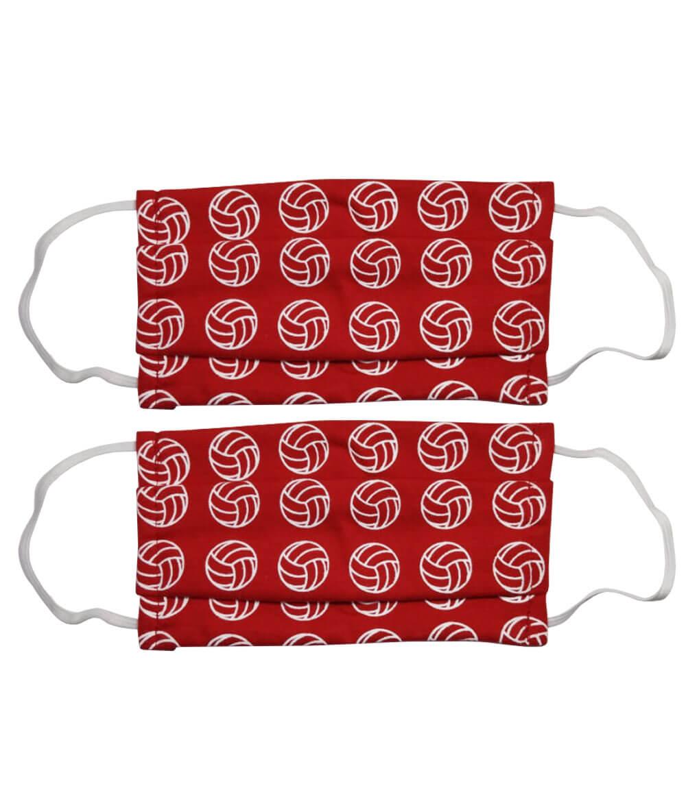 Kit com 2 máscaras de proteção com estampa de vôlei - Vermelha