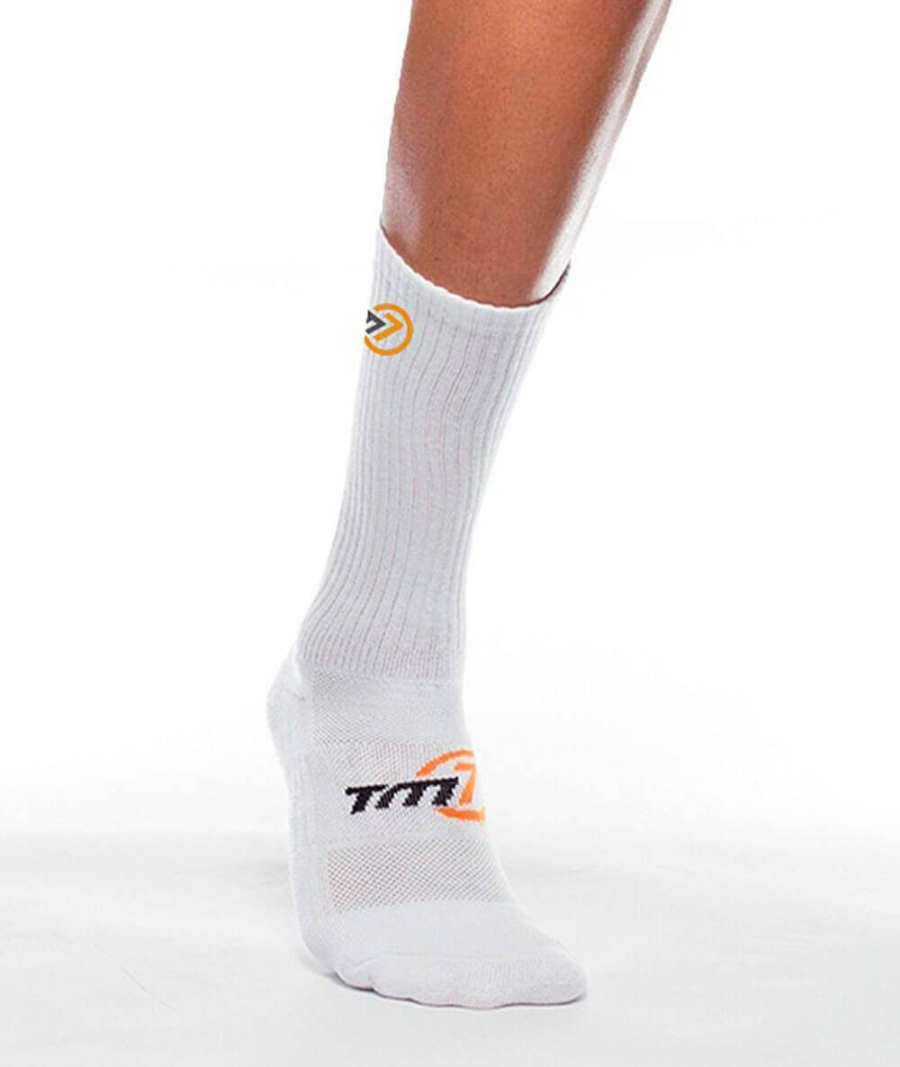 Meia Cano Médio para Vôlei Logo TM7 Sports - Branco
