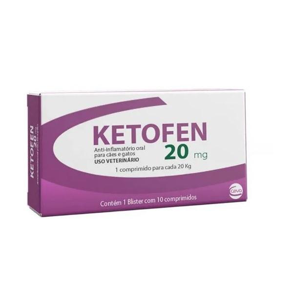 Anti-inflamatório Ketofen 20mg para Cães e Gatos 10 Comprimidos