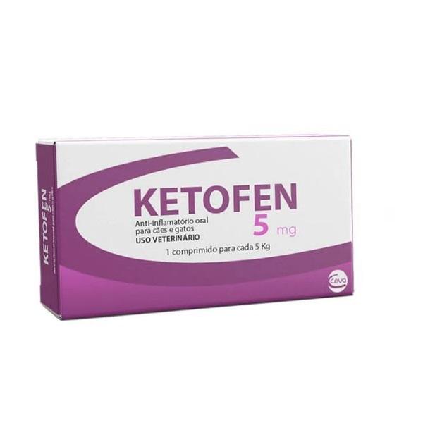 Anti-inflamatório Ketofen 5mg para Cães e Gatos 10 Comprimidos