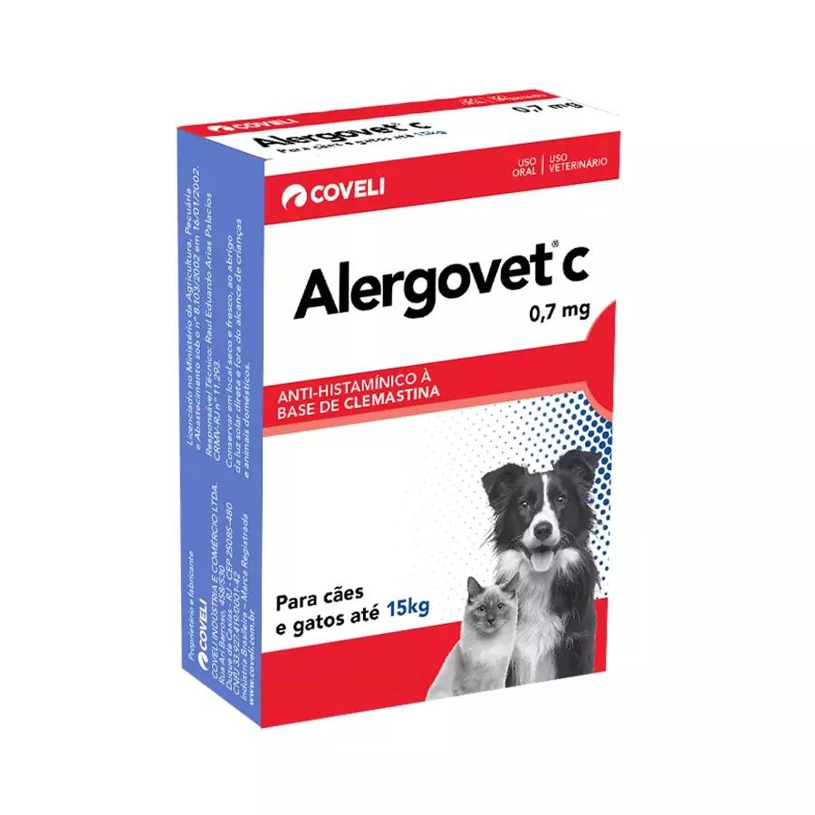 Antialérgico Coveli Alergovet C 0,7mg para Cães e Gatos 10 Comprimidos