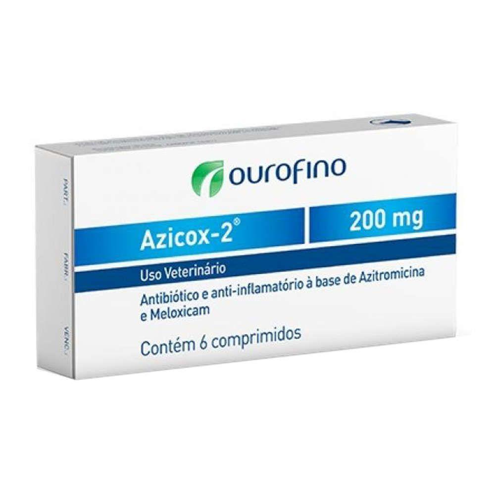 Antibiótico e Anti-inflamatório Azicox-2 200mg para Cães e Gatos - 6 Comprimidos