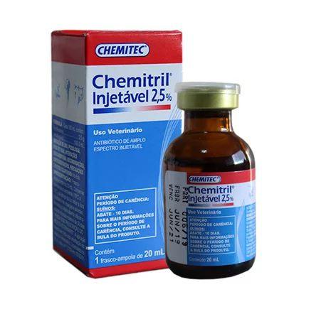 Antibiótico Chemitril Injetável 2,5% 20ml para Cães e Gatos