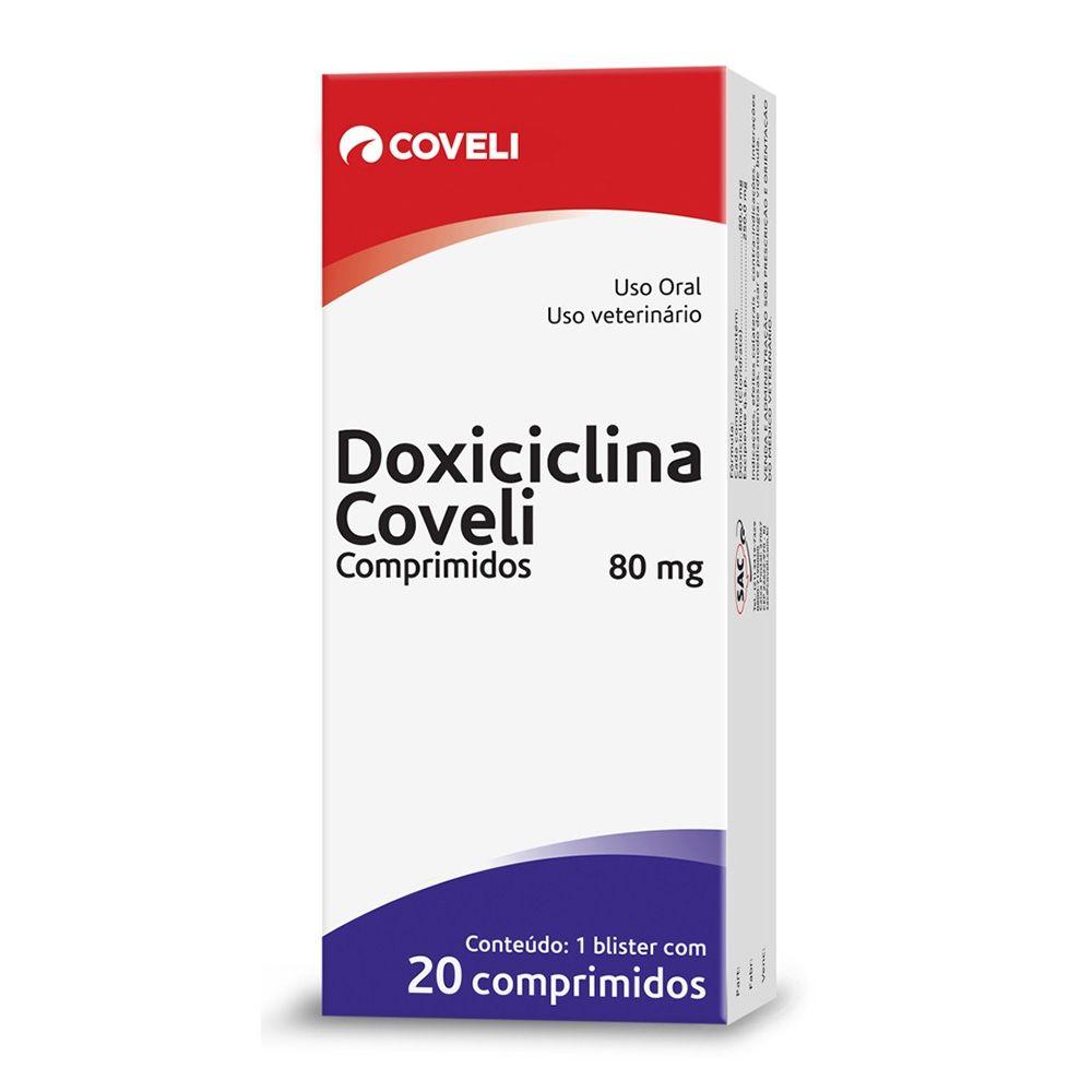 Antibiótico Doxiciclina 80mg 20 Comprimidos Cães e Gatos