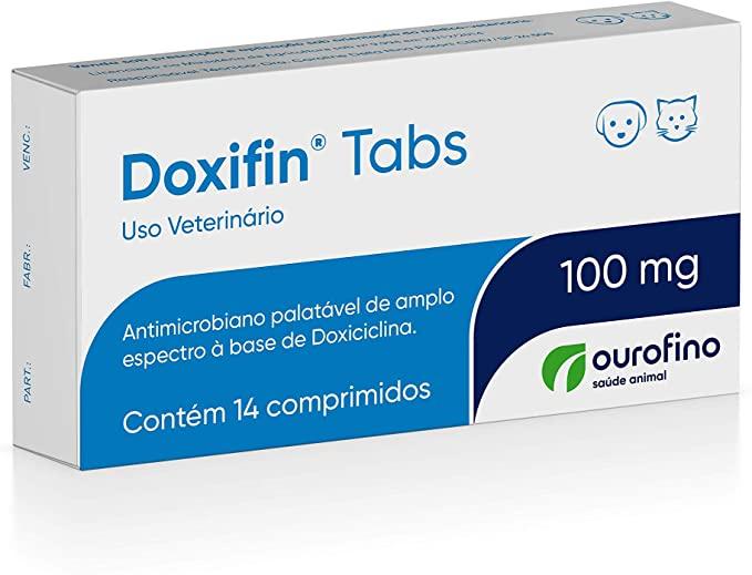Antibiótico Doxifin Tabs 100mg 14 comprimidos Cães e Gatos