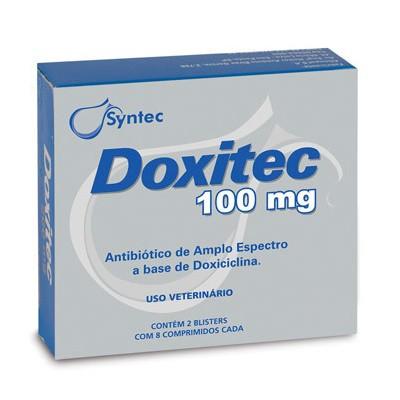 Antibiótico Doxitec 100mg para Cães Gatos 16 Comprimidos