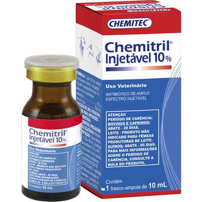 Antibiótico Injetável Chemitec Chemitril 10% Enrofloxacina para Cães e Gatos