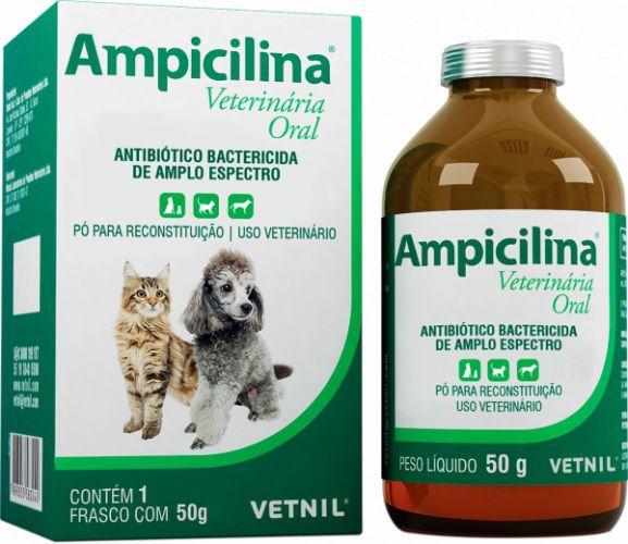 Antibiótico oral Ampicilina 50g Vetnil Cães e Gatos