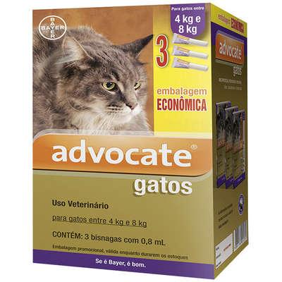 Antipulgas Advocate Bayer para Gatos de 4 a 8Kg 0,8ml Combo 3 Bisnagas
