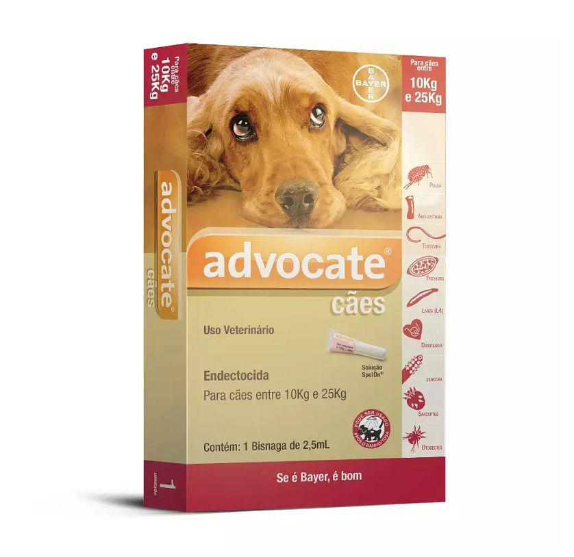 Antipulgas Advocate para Cães de 10 a 25 Kg - 2,5ml