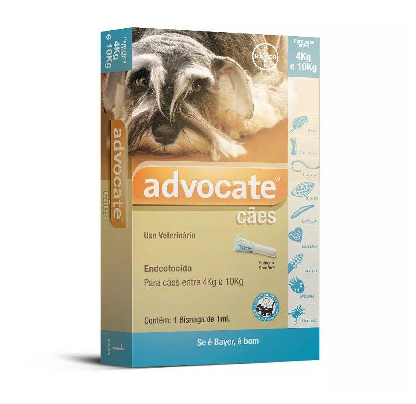 Antipulgas Advocate para Cães de 4 a 10 Kg - 1,0ml