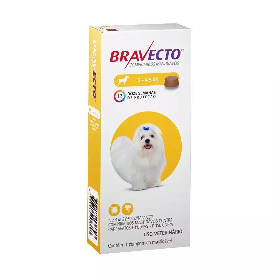 Antipulgas e Carrapatos Bravecto MSD para Cães de 2 a 4,5kg