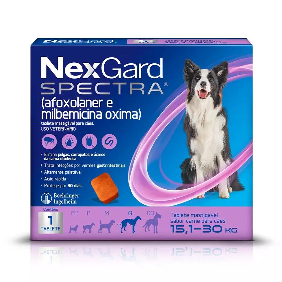 Antipulgas e Carrapatos NexGard Spectra para Cães de 15,1 a 30kg 1 Tablete