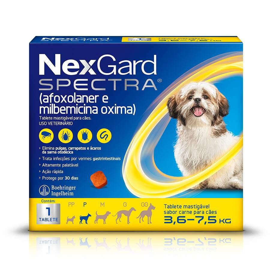 Antipulgas e Carrapatos NexGard Spectra para Cães de 3,6 a 7,5kg 1 Tablete