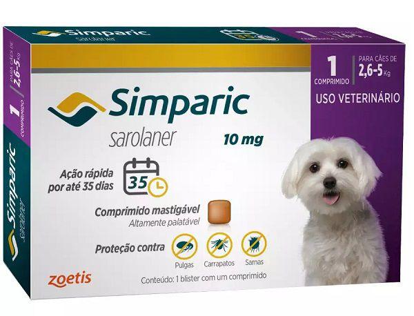 Antipulgas Simparic 10mg para Cães 2,6 a 5kg