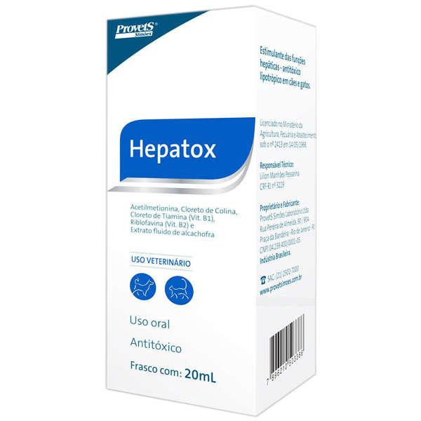 Antitóxico Provets Hepatox para Cães e Gatos 20ml