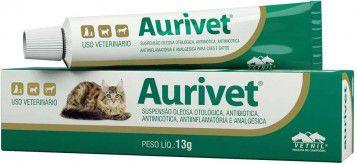Aurivet 13g Vetnil Tratamento Otites para Cães e Gatos