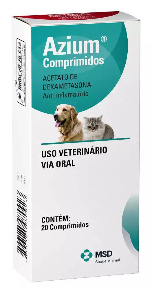 Azium 20 comp MSD Anti-inflamatório Cães e Gatos