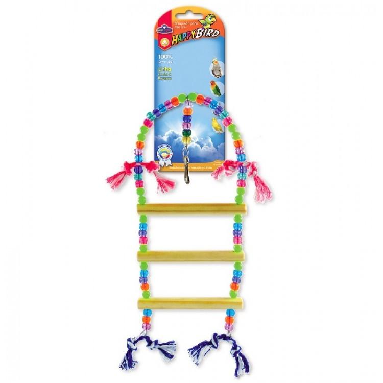 Brinquedo Para Pássaros Escada Redonda 3 Degraus Calopsita e Psitacídeo
