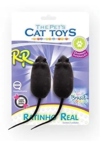 Brinquedos Pet Ratinhos Real Blister C/02 Para Gatos Pet.