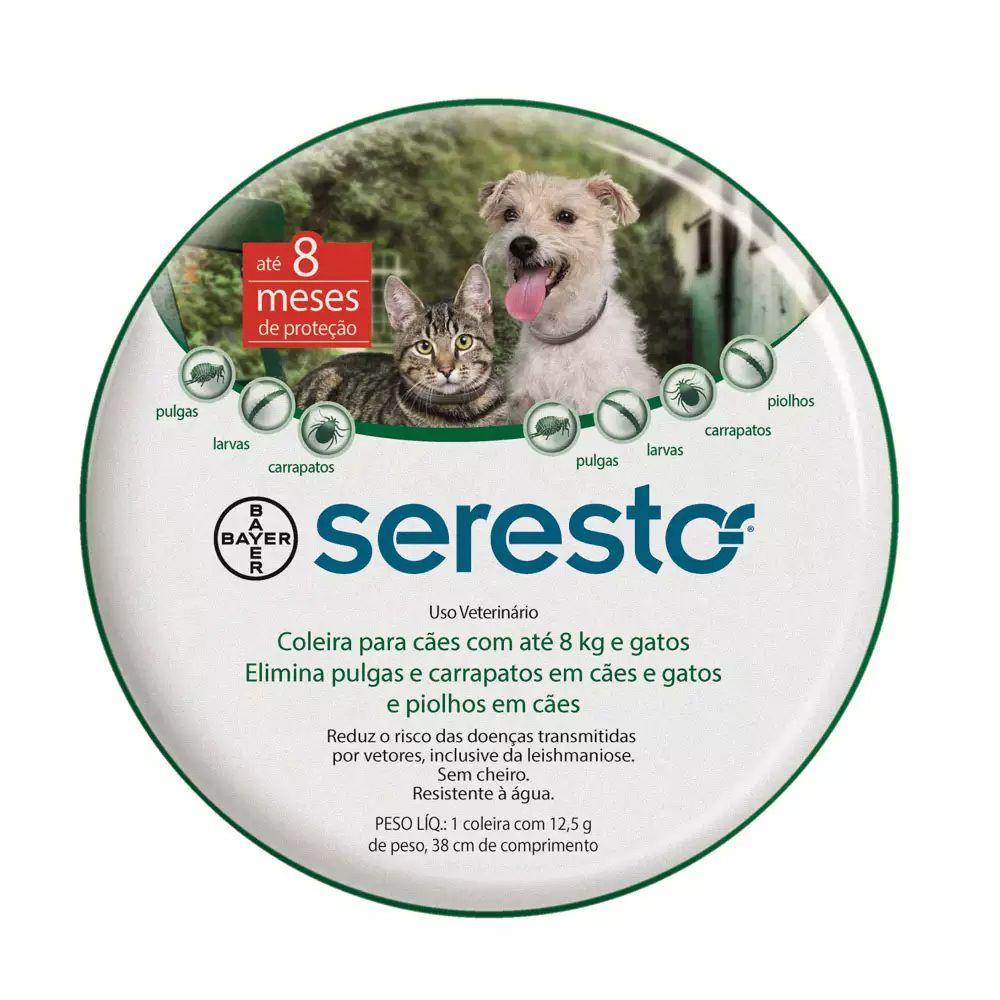 Coleira Antipulgas e Carrapatos Seresto para Cães e Gatos até 8 Kg