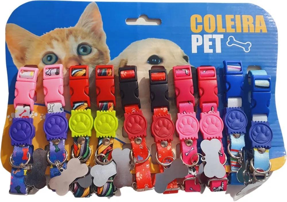 Coleira com Plaquinha para Cães e Gatos Raças Pequenas e Mini