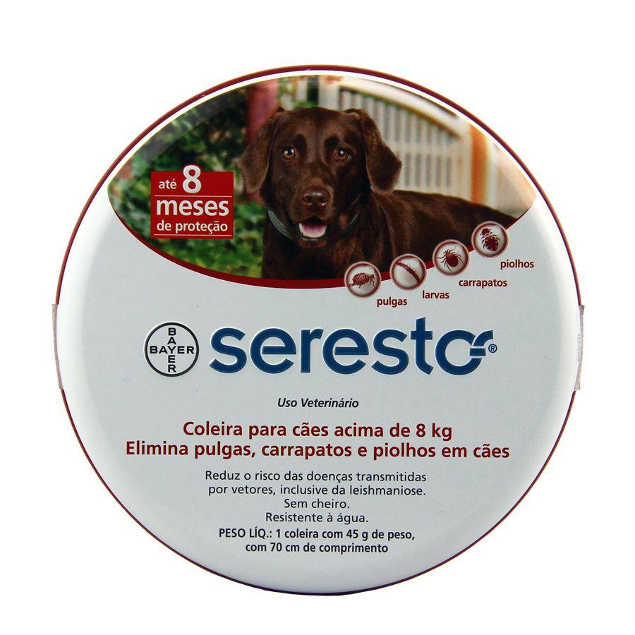 Coleira Seresto para Cães acima 8kg 70cm