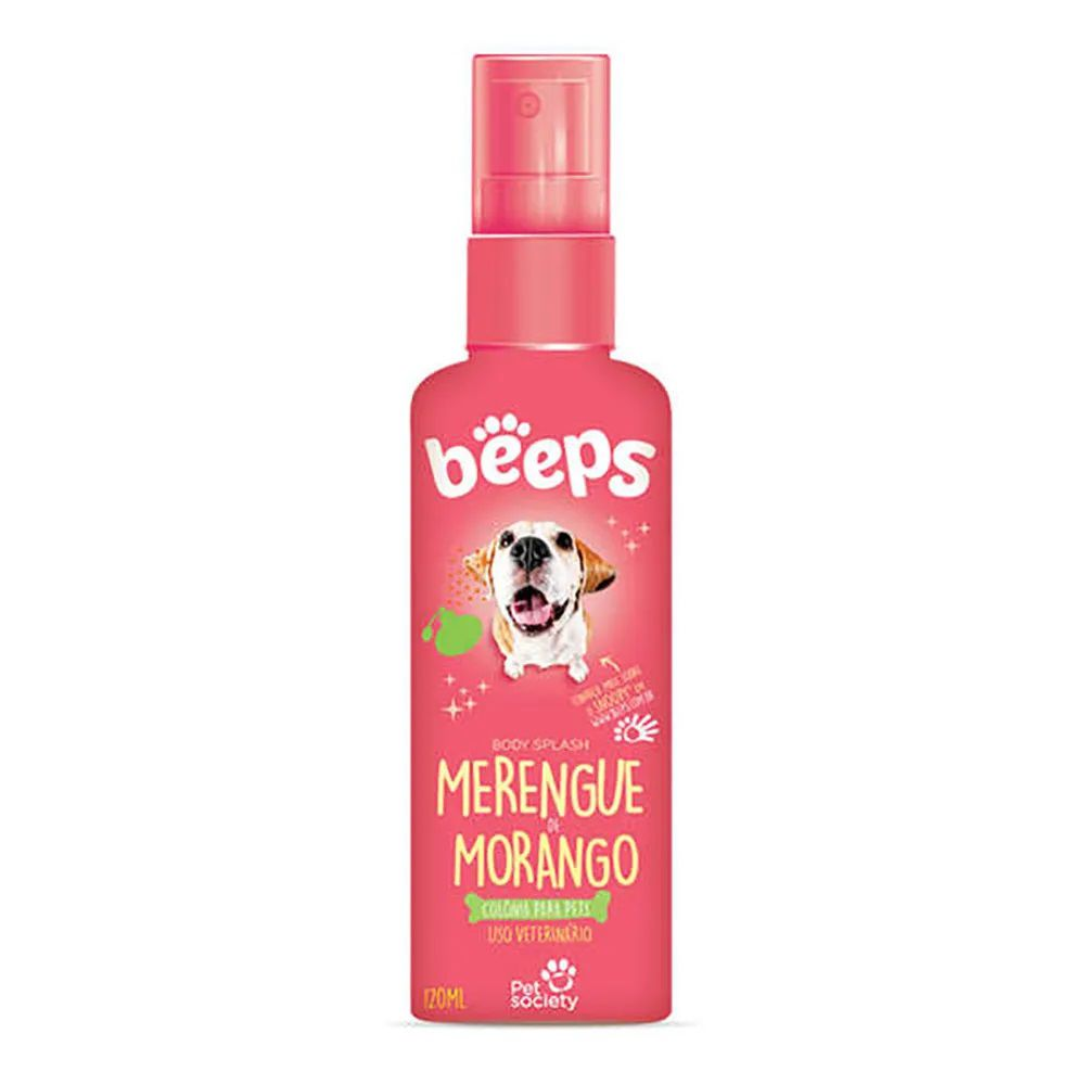Colônia Pet Society Beeps Merengue de Morango Cães 120ml