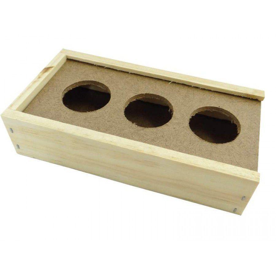 Comedouro Coxo de madeira 3 furos Pássaros