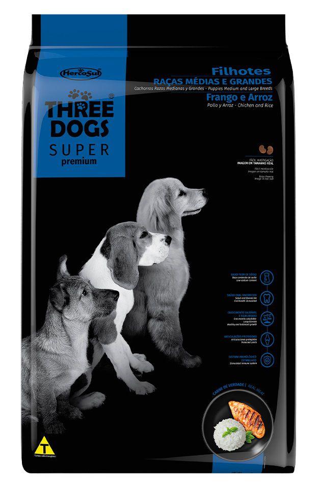 Ração Three Dogs Super Premium Cães Filhotes Raças Medias e Grandes Frango e Arroz
