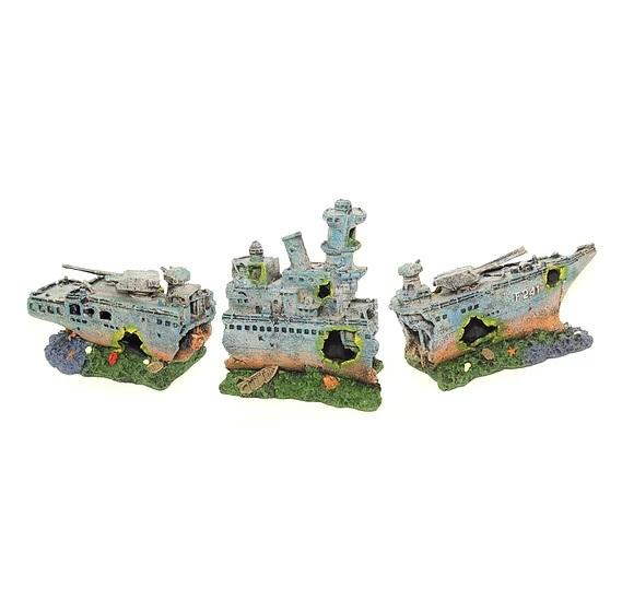 Enfeite Ornamental para Aquário Barco Fragata 3 Partes