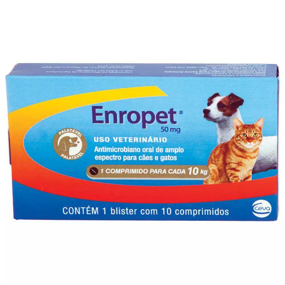 Antibiótico Ceva Enropet 50mg 10 Comprimidos
