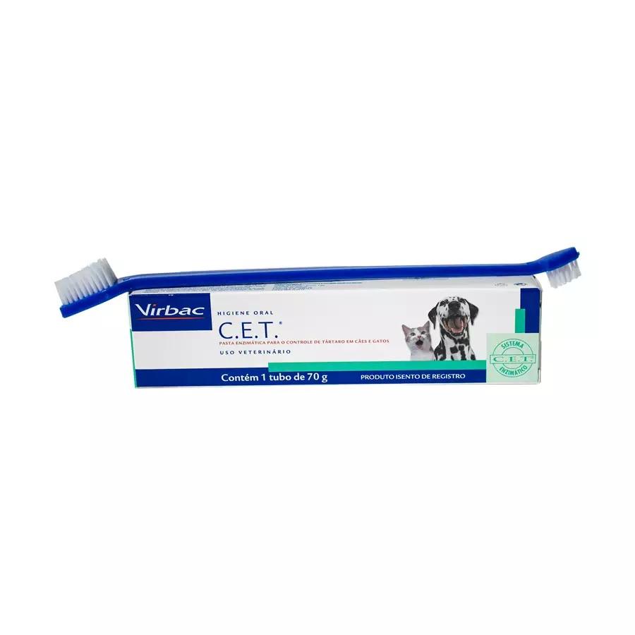 Kit de Saúde Oral Virbac Pasta e Escova para Cães e Gatos