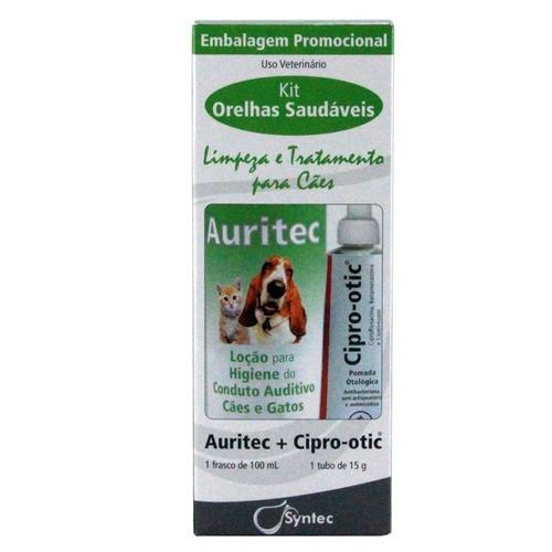 Kit Otológico Auritec 100ml + Cipro Otic 15g para Cães e Gatos