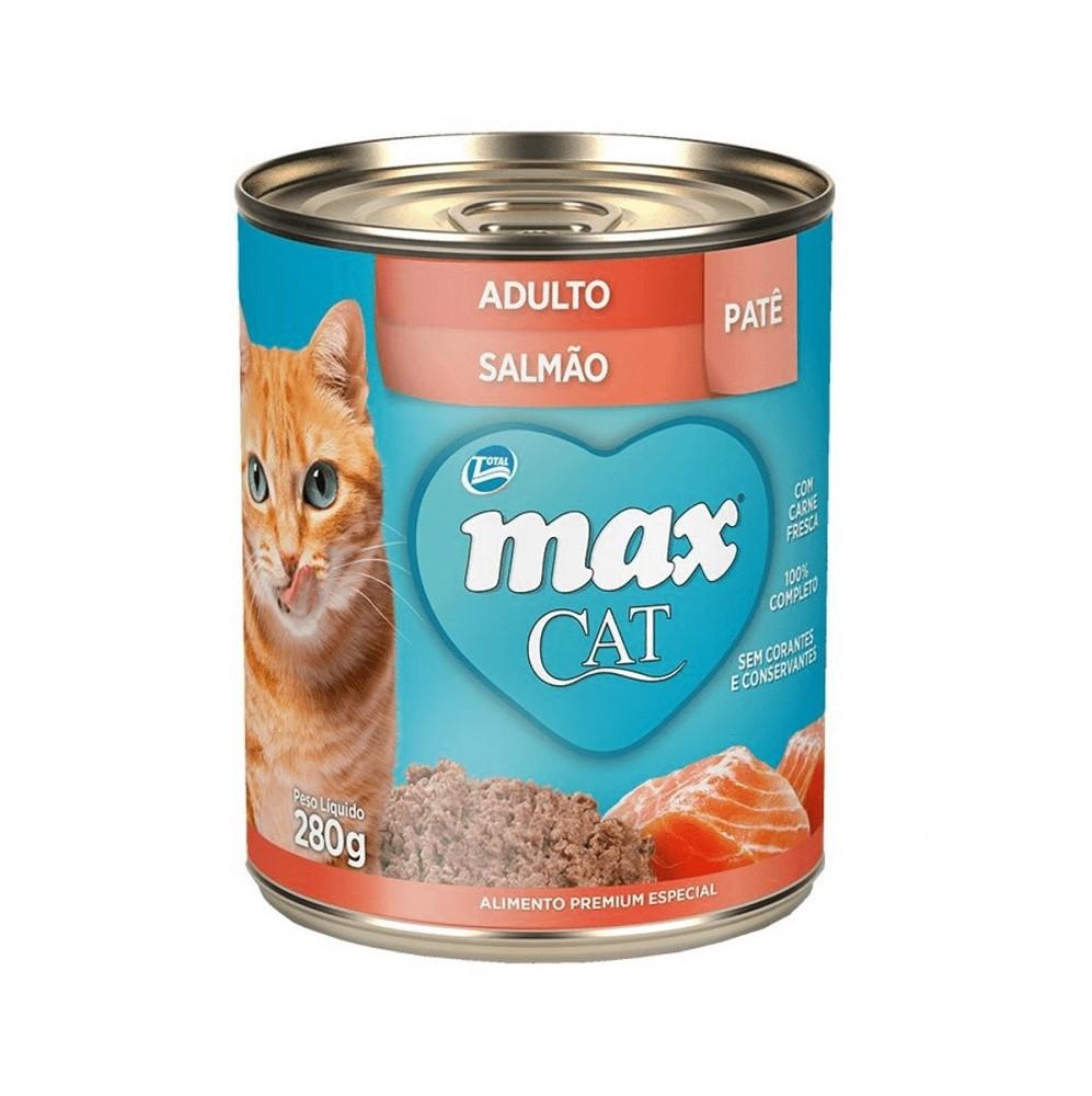 Patê de Ração Úmida Max Cat para Gatos Adultos Sabor Salmão 280g