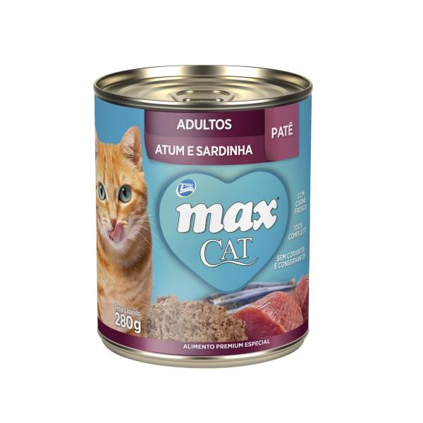 Patê de Ração Úmida Max Cat para Gatos Adultos Sabor Atum e Sardinha 280g