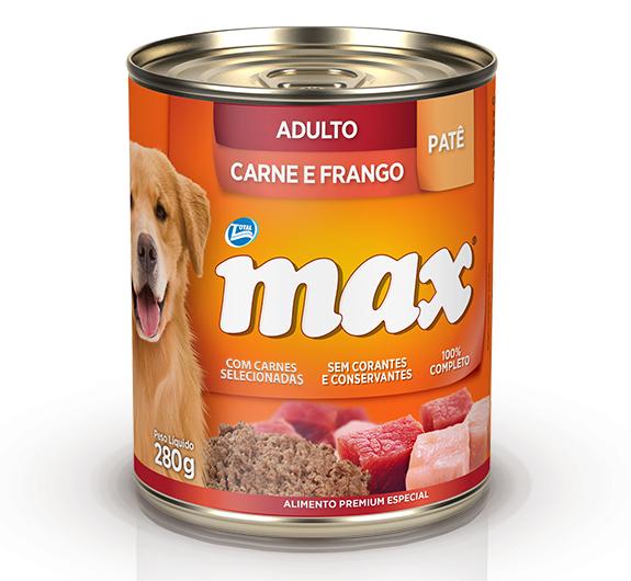 Patê de Ração Úmida Max Cães Adultos Sabor Carne e Frango 280g