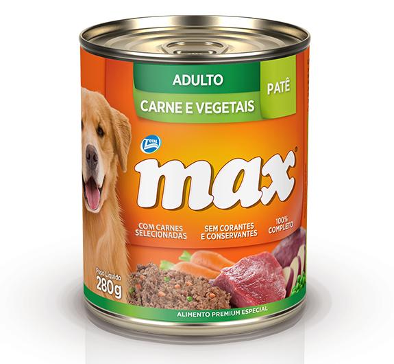 Patê de Ração Úmida Max Cães Adultos Sabor Carne e Vegetais 280g