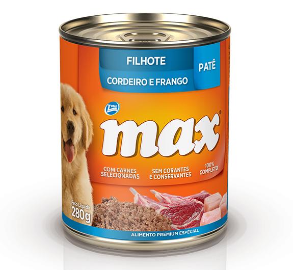 Patê de Ração Úmida Max Cães Filhotes Sabor Cordeiro e Frango 280g