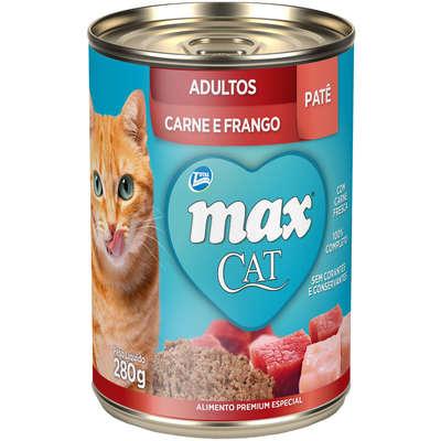 Patê de Ração Úmida Max Cat para Gatos Adultos Sabor Carne e Frango