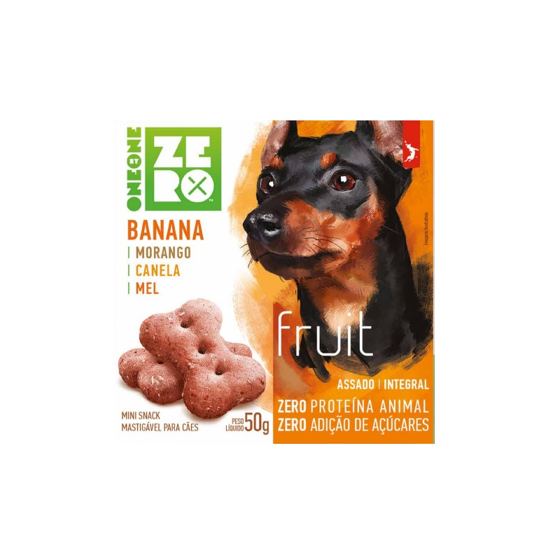 Petisco Snack Mini Zero Fruit Spin Pet Banana, Morango, Canela e Mel 50g