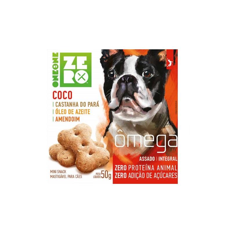 Petisco Snack Mini Zero Ômega Spin Pet Coco, Castanha, Óleo de Azeite e Amendoim 50g