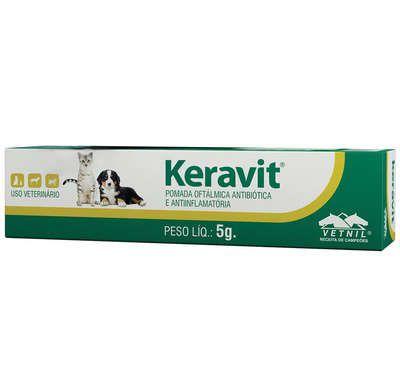 Pomada Oftalmologica Keravit 5g Vetnil para Cães e Gatos