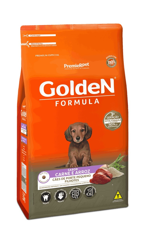 Ração Golden Premium Especial Formula Cães Filhotes Raças Pequenas Carne e Arroz