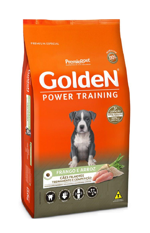 Ração Golden Formula Power Training Premium Especial Cães Filhotes Frango e Arroz