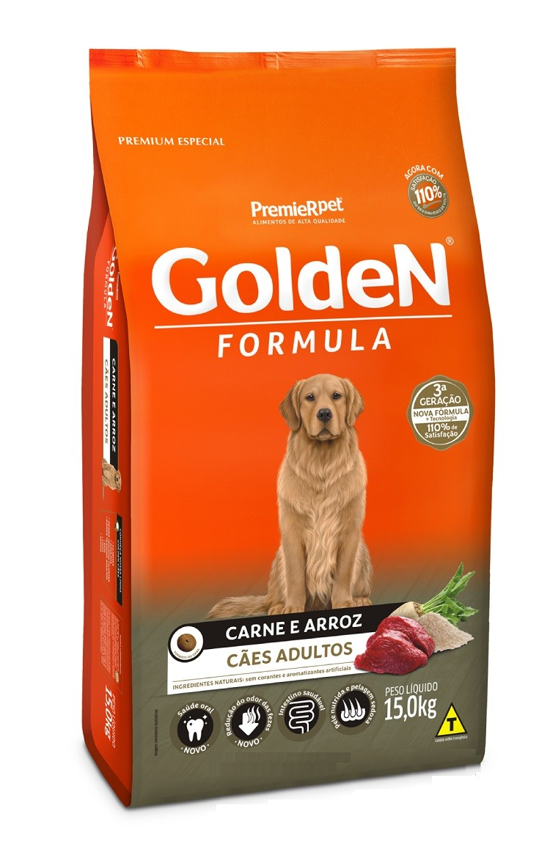 Ração Golden Premium Especial Formula Cães Adultos Raças Grande Carne e Arroz