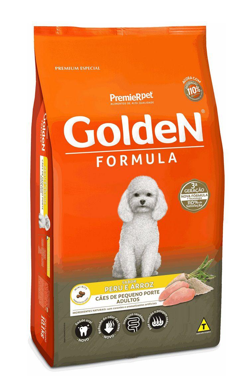 Ração Golden Formula Premium Especial Cães Adultos Raças Pequenas Peru e Arroz