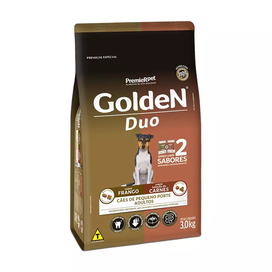 Ração Golden Premium Especial Formula Duo Cães Adultos Raças Pequenas Frango e Carne 3kg