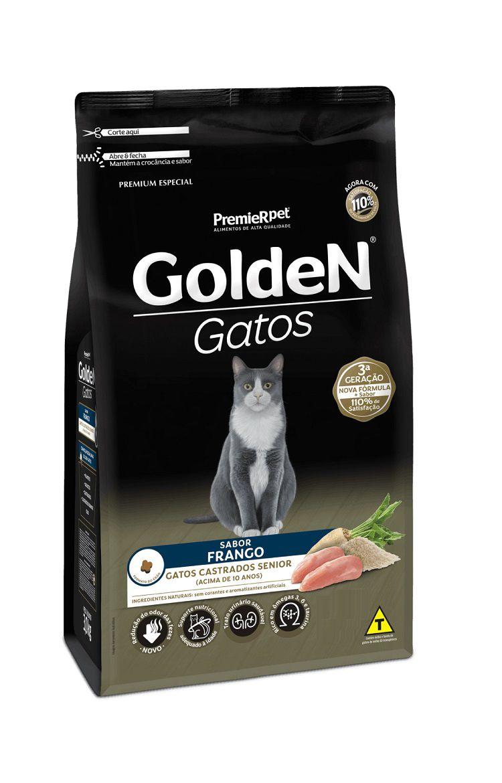 Ração Golden Premium Especial Sênior Gatos Adultos Castrados Frango